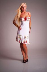 Dress - hungarian folk design - Kalocsa style - white