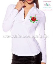 Women polo shirt - long sleeve - machine embroidery - folk rose - white