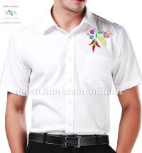 Mens Shirts - folk embroidery from Hungary - white