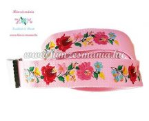 Belt - hungarian folk - machine embroidery - Kalocsa motif - pink