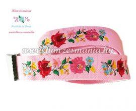 Belt - hungarian folk - machine embroidery - Kalocsa motif - pink