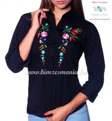 Womens 3/4 sleeve shirt - hungarian folk machine embroidery - Kalocsa design - black