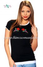 T-shirt - hungarian folk machine embroidered - Kalocsa rose - black
