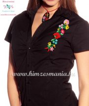 Women's short sleeve shirt - hungarian folk - hand embroidery - Kalocsa motif - black