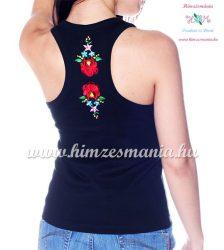 Tank top - machine embroidery - hungarian Kalocsa design - black - Embroidery Mania