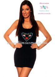 Szív alakú kalocsai mintával hímzett miniruha - fekete - Hímzésmánia