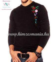 Embroidery Mania - T-shirt - long sleeve - hungaryan folk from Kalocsa - black