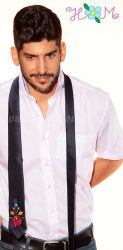 Hímzésmánia - matyó mintás hímzett nyakkendő - sötétkék