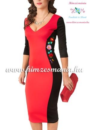 Kézi hímzésű kalocsai mintás ruha - red (36)