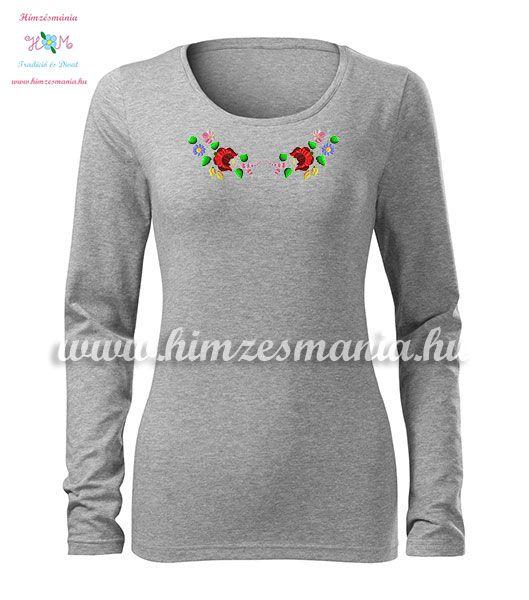 Kalocsai mintás hímzett hosszú ujjú női póló - Hímzésmánia - melírszürke