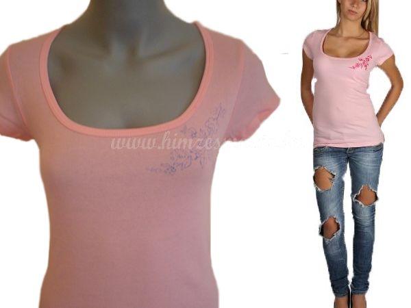 Hímzésmánia - hímezhető póló kalocsai mintával - pink