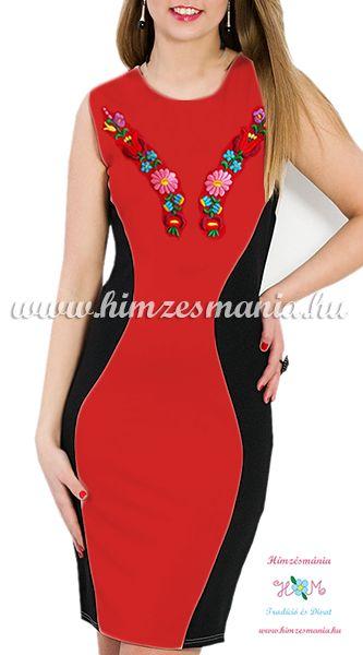 Ujjatlan női ruha elején-hátulján kalocsai kézi hímzéssel - Hímzésmánia - sötétpiros