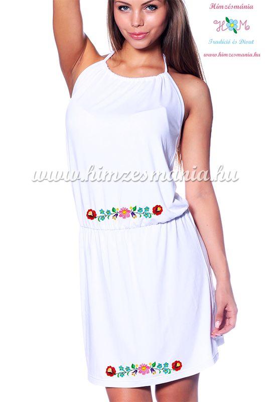 Kalocsai mintás nyakba kötős nyári ruha - Hímzésmánia - fehér (M/L, L/XL)