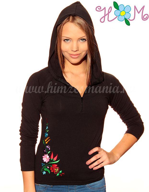 Hímzésmánia - kalocsai hímzett kapucnis női felső - fekete