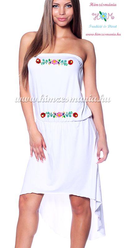 Kalocsai mintás pántnélküli nyári ruha - Hímzésmánia - fehér (S-XL)