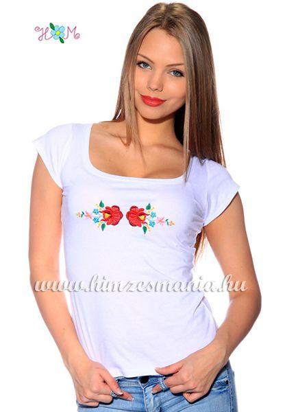 Hímzésmánia - hímzett kalocsai rózsás póló - fehér (S, M, L, XL)