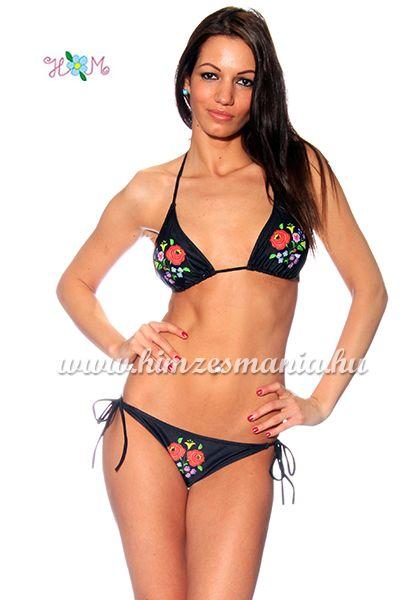 Kalocsai mintás bikini - kivehető szivacsos - fekete