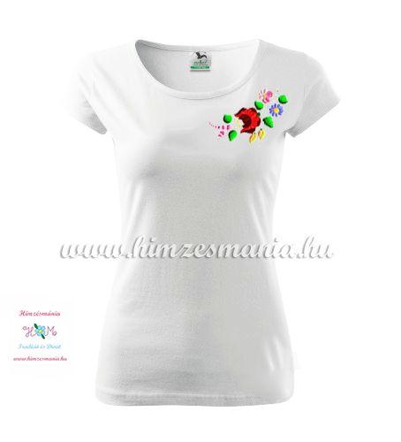 Fehér női póló színes kalocsai hímzéssel - Hímzésmánia