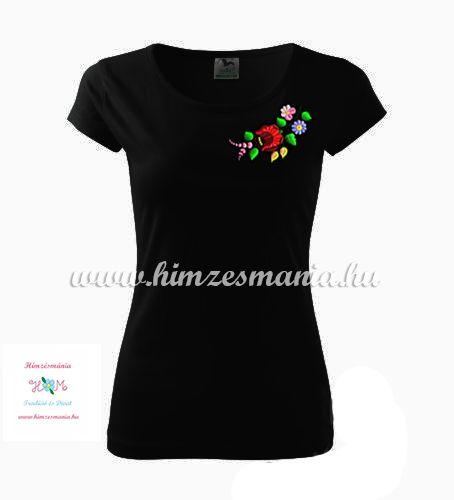Fekete női póló színes kalocsai hímzéssel - Hímzésmánia