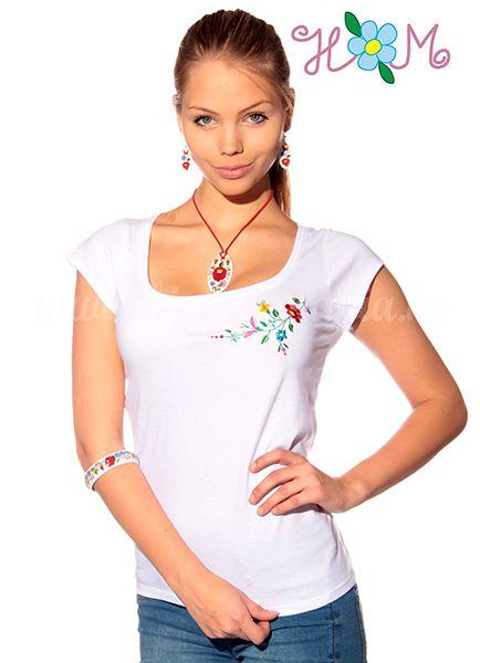 Hímzésmánia - kalocsai póló - fehér