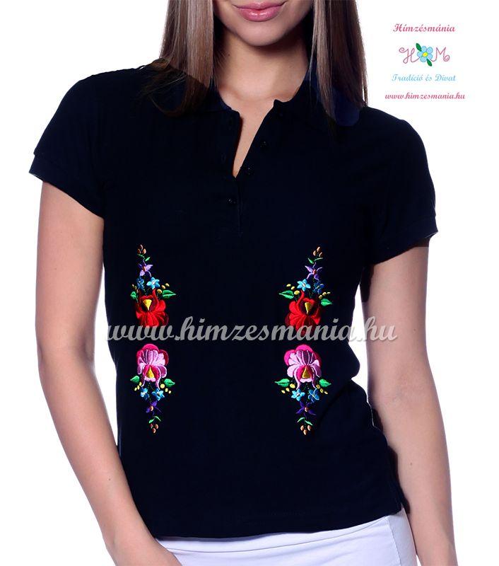Rövid ujjú női pólóing hímzett kalocsai mintával - Hímzésmánia - black (S)