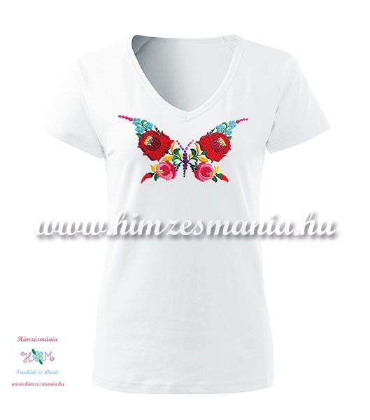 Rövid ujjú, V-nyakú női póló, kézi hímzésű kalocsai pillangó mintával - Hímzésmánia - fehér
