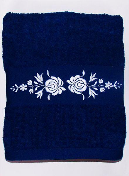 Hímzésmánia - matyó hímzett törölköző - sötétkék - fehér mintával