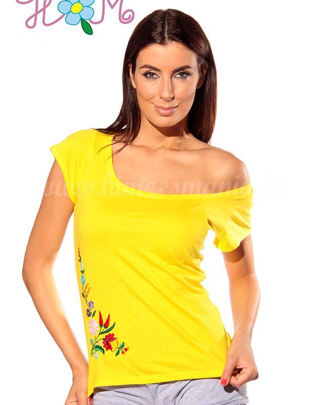 Hímzésmánia - kalocsai hímzett póló - sárga (L)