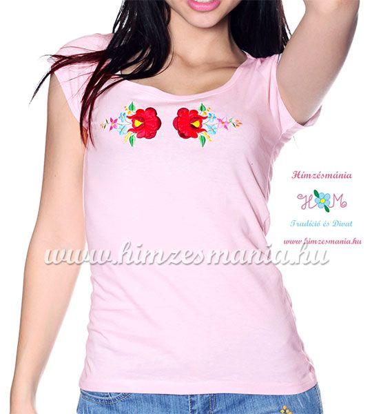 Hímzett kalocsai rózsás póló - rózsaszín (M, L, XL) - Hímzésmánia