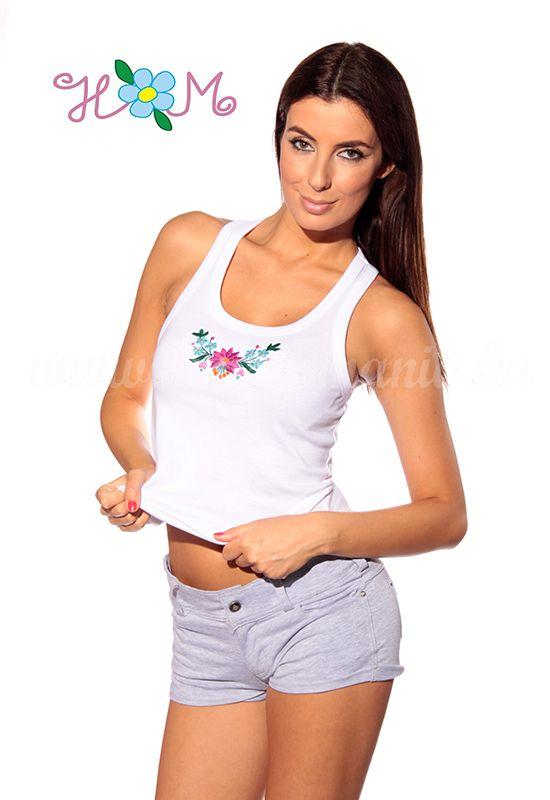 Hímzésmánia - kalocsai elején hímzett trikó - fehér