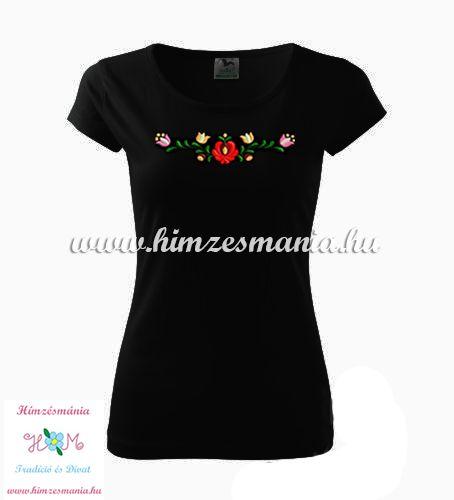 Rövid ujjú női póló színes matyó hímzéssel - Hímzésmánia - fekete