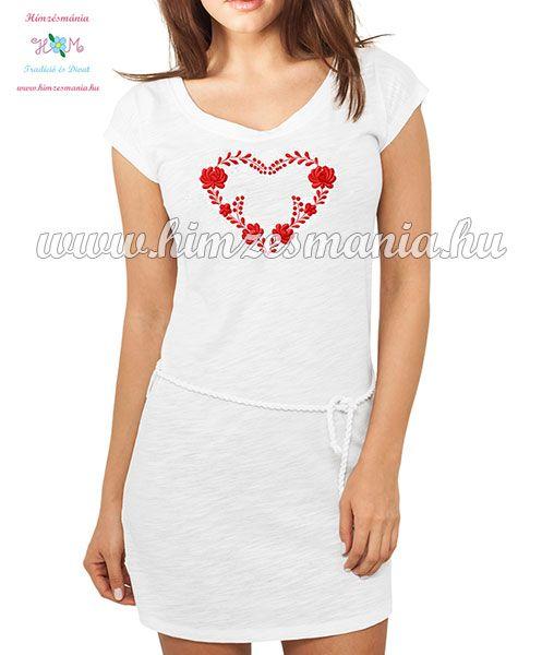 Fehér pamut ruha - színes matyó mintával - gépi hímzés