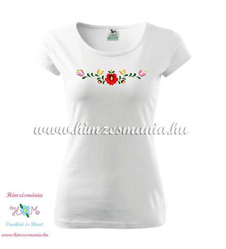 Rövid ujjú női póló színes matyó hímzéssel - Hímzésmánia - fehér