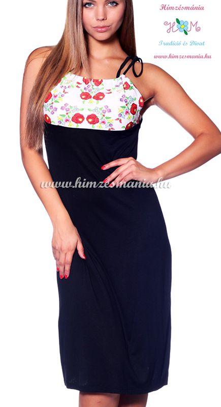 Fekete  női ruha kalocsai mintás betéttel (S/M)