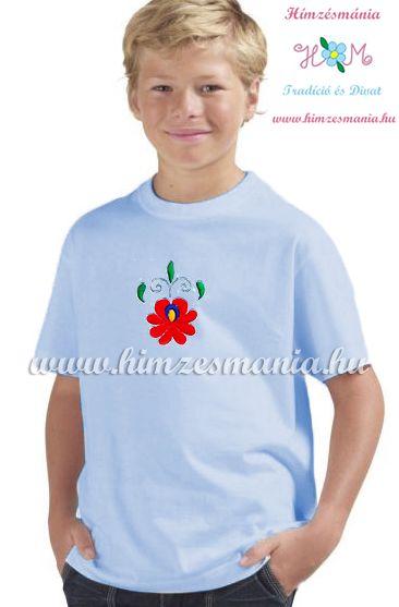 Matyó rózsával hímzett gyerek póló - fiúknak - világoskék - Hímzésmánia