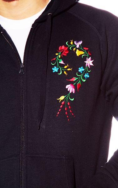Hímzésmánia - kalocsai elején-hátulján hímzett kapucnis pulóver - kék - unisex