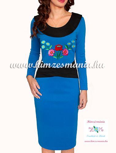 Kalocsai mintás ruha - kézi hímzés - kék (36)
