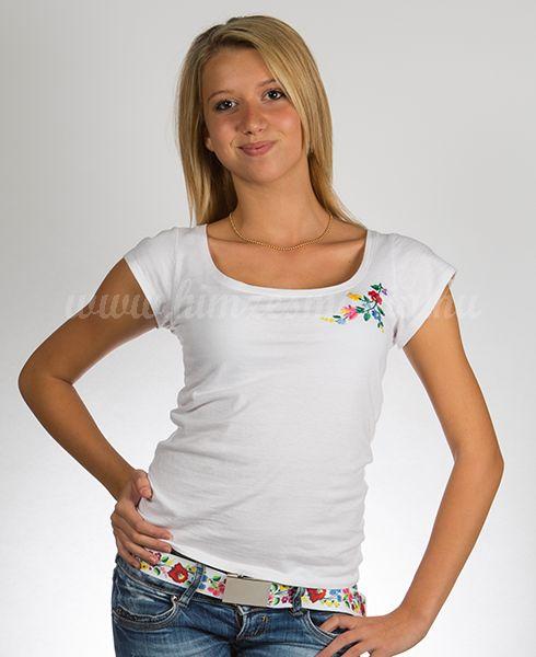 Hímzésmánia póló kalocsai mintával - fehér (S, M, L, XL)