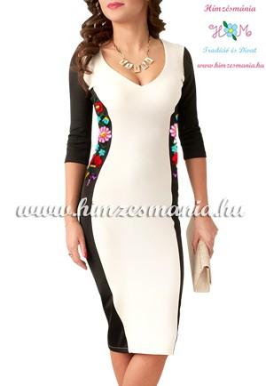 Kézi hímzésű kalocsai mintás ruha - cream (36,40)