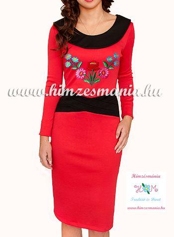 Kalocsai mintás ruha - kézi hímzés - piros (38)