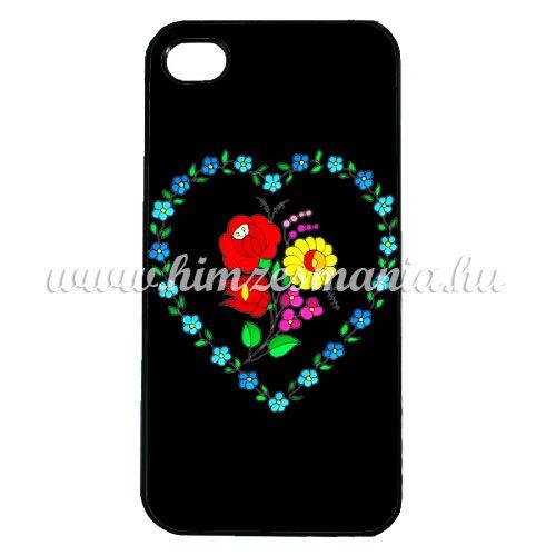 Mobiltelefon tok - szív alakú kalocsai mintás - iPhone - Samsung - szilikon/műanyag - fekete