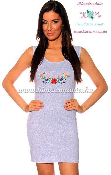 Matyó mintás nyári ruha - melírszürke - Hímzésmánia