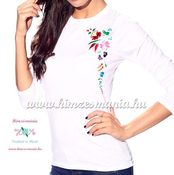 Hosszú ujjú fehér női póló kalocsai hímzéssel - Hímzésmánia