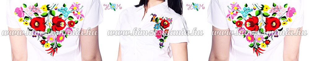 Kézzel hímzett kalocsai mintás exkluzív női ingek