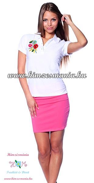 55e660d143 Kalocsai mintás női galléros piké póló - kézi hímzés - fehér ...