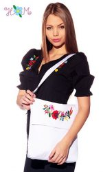 Bag - hungarian handmade - with Kalocsa embroidered - 2 - white