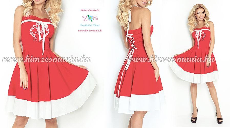 Kalocsai menyecske ruha - gépi hímzés - piros - Hímzésmánia  3893afd66d
