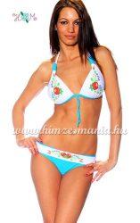 Kalocsai mintás bikini - push up - kék