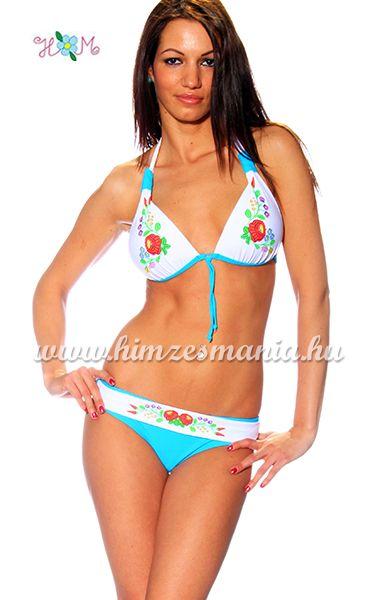 9ac61aa186 Kalocsai mintás bikini - push up - kék - Hímzésmánia   Divat Webáruház