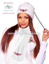 Hat scarf set - thermovelur -  hungarian kalocsa motif - macine embroidery - white
